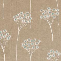 Clarke & Clarke, Cowslip Fabric F0485/01,  Colour: Aqua, Product Code: F0485/01 25.20