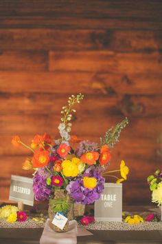 Rustic floral centerpiece {Photo: Birds of a Feather Events}