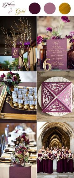 plum and gold glamour classic wedding color inspiration