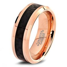 Tungsten Wedding Band Ring - 8mm - Wedding Band for Men Women - ALL Sizes - Unique Custom Made Designer Rings Comfort Fit - 18K Rose Gold Plated Black Carbon Fiber Polished - Male Mans His Hers Couple Sets - Personalize Laser Engraving Available - Lifetim