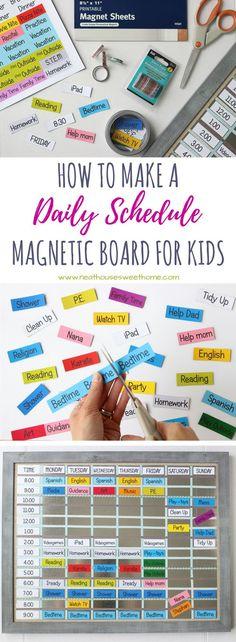 DIY Magnetic Board Schedule *Might also be handy for visual people like me ;)* Teach your kids time management with this quick and inexpensive DIY magnetic board schedule. Print at home on magnetic sheets and get organized today! Magnet Board Kids, Board For Kids, Diy For Kids, Kids Schedule, School Schedule, Family Schedule Board, Daily Schedules, Inspiration Board Fitness, Office Organization At Work