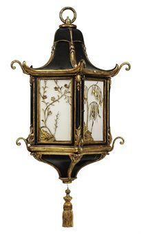 Late century - Chinoiserie gilt and black painted lantern