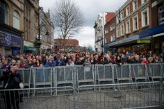 Crowds in Bridge Street, Warrington town centre during the 20th anniversary of the Warrington bombing.