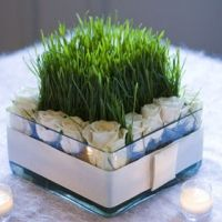 roses + wheat grass centerpiece-I would maybe use a candle insted of the wheat grass