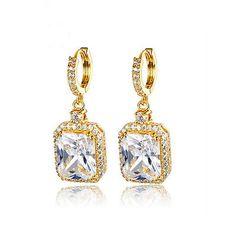 Gorgeous Emerald Cut Cubic Zirconia CZ Dangle Bridal Earrings (Sparkle-2154)