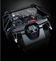 montre design avec cadran destructuré en aluminium noir