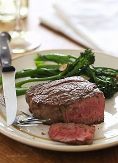 This easy recipe will give you perfect Filet Mignon every time. As a steak lover, I can't think of a better meal for two to enjoy for on special occasions such as date night, Valentine's Day or birthdays! Perfect Filet Mignon, Paleo Recipes, Cooking Recipes, Skinny Recipes, Dinner Recipes, Steak Recipes, Yummy Recipes, Good Food, Yummy Food