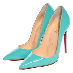 CHRISTIAN LOUBOUTIN Patent So Kate 120 Pumps 35 Aquamarine ❤ liked on Polyvore featuring shoes, pumps, patent pumps, christian louboutin pumps, patent leather pumps, patent shoes and christian louboutin shoes