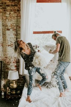 This Couple's Pillow Fight Photo Shoot is Fun, Flirty, and Full of Feathers Adorable engagement photos that don't even require leaving the bedroom Photo Couple, Love Couple, Couple Shoot, Couple Goals, Playful Couple, Beautiful Couple, Engagement Session, Engagement Photos, Shooting Couple