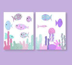 Fish Nursery Art Ocean Nursery Nautical by SweetPeaNurseryArt, $28.00