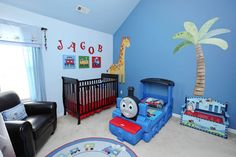 Traditional Kids Bedroom with Levels of Discovery Gettin' Around Kid's Storage Bench, Carpet, Mural