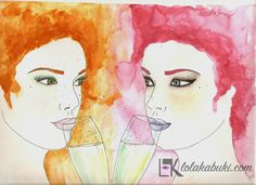 """Copas"" de Lola Kabuki  #love #art #watercolor #paintings #illustration"