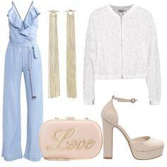 Outfit+composto+da+tuta+jumpsuit+in+jeans+con+profondo+scollo+a+V,+bomber+in+pizzo+con+chiusura+a+cerniera+e+Mary+Jane+con+plateau.+Completano+il+look+la+clutch+ed+i+maxi+orecchini+pendenti.
