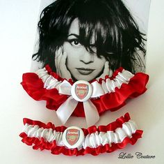 Arsenal Wedding Garters Red White Garters by lolliecouture on Etsy