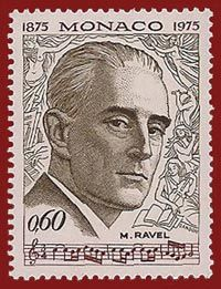 Maurice Ravel - the French composer on a Monaco (Monte Carlo) postage stamp