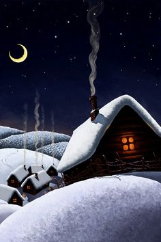 Silent Night And All Is White, Save The Warm Red Light In A Little Room. . And The Silvery Glow From The Crescent Moon.