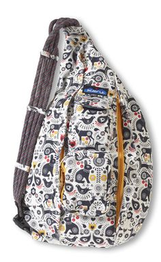 KAVU Rope Bag-Folklore-100% Cotton Canvas.  The KAVU Rope Bag is by far the most popular bag in our line.  People ages 5-95 love the design and practicality of our Rope Bag.  Adjustable shoulder strap, two vertical zip compartments, two zip/key pockets, padded back with KAVU embroidery and ergonomic design to fit the body like a bag should.  Dimensions:  20