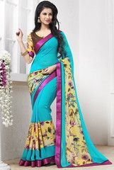 Firozi Color Georgette Casual Party Sarees : Anaira Collection YF-32130