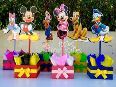 Mickey Mouse Clubhouse birthday party wood guest table centerpiece decoration Pluto Daisy Goofy Minnie Mickey Donald SET OF 6 Fiesta Mickey Mouse, Mickey Mouse Clubhouse Birthday Party, Mickey Mouse 1st Birthday, Mickey Mouse Parties, Mickey Party, Birthday Party Tables, Birthday Party Decorations, 1st Birthday Parties, 2nd Birthday
