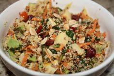 Tricolor Quinoa Salad with Veggies, Avocado, Cranberries & Almonds recipe. Protein:  quinoa, almonds.  Vegan salad.