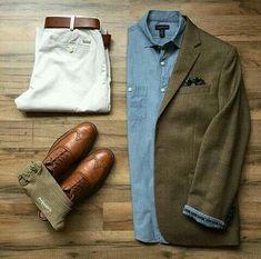 Blazer Verde Camisa Jean Pantalon blanco Zapatos y cinturon café - Komplette Outfits, Casual Outfits, Men Casual, Fashion Outfits, Look Fashion, Autumn Fashion, Fashion News, Style Masculin, Outfit Grid