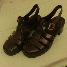 Black jelly heels Not AA American Apparel Shoes Heels