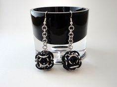Wrapped Marble Chainmail Earrings - Black and Silver. $7.00, via Etsy.