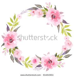 Roses in bloom watercolor decoration wreath bloom blossom