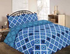 Theo Checked Printed Blue Duvet Quilt Cover Set — Linens Range