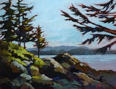 """14""""x18"""" Acrylic on canvas. This is on the Wild Pacific Trail near Ucluelet, BC."""