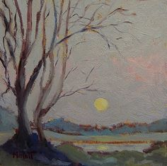 """""""Moon Rising""""  daily oil paintings"""