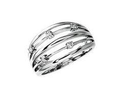 Anillo-De-Diamante-18-ct-Oro-Blanco-750-0-11-ct-Con-Brillantes-Nuevo