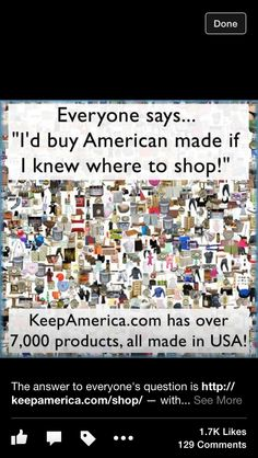 Please share it !! Help out  USA   Buy stuff made in USA .    We can do this !!!