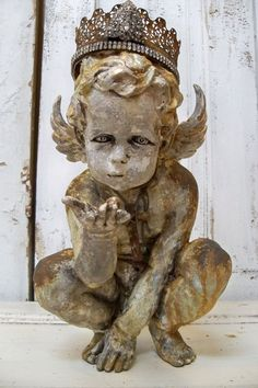 Large hand painted cherub statue sculpture by AnitaSperoDesign, $245.00