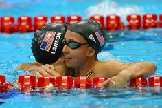 Day Three - JULY 30: Breeja Larson and Rebbeca Soni of the United States react after they competed in the Final of the Women's 100m Breaststroke on Day 3 of the London 2012 Olympic Games at the Aquatics Centre on July 30, 2012 in London, England. (Photo by Al Bello/Getty Images)