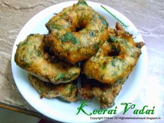 Keerai vadai [ Greens vadai ] Coconut Chutney, Indian Snacks, Curry Leaves, Diet Recipes, Recipies, Okra, Vegetarian Food, Potato Recipes, Tandoori Chicken