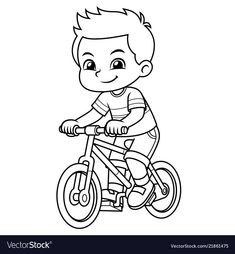 Boy riding new red bicycle bw vector image on VectorStock Batman Coloring Pages, Spiderman Coloring, School Coloring Pages, Colouring Pages, Coloring Books, Easy Drawings Sketches, Art Drawings For Kids, Colorful Drawings, Drawing For Kids