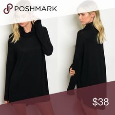 🆕 Black Long Sleeve Cowl Neck Sweater Mini Dress New with tags. Black long sleeve oversized sweater dress with cowl neckline. Perfect to wear with leggings, on its own, or as a top with some jeans. Also comes in wine red. Runs true to women's sizing.                                                                                                    🌸60% rayon, 35% polyester, 5% spandex.                                         ❌SORRY, NO TRADES. The O Boutique Dresses Long Sleeve
