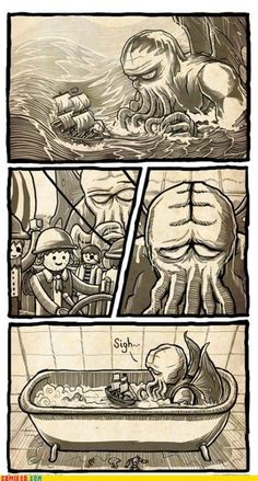 Funny pictures about Poor Cthulhu. Oh, and cool pics about Poor Cthulhu. Also, Poor Cthulhu. Lovecraft Cthulhu, Hp Lovecraft, Le Kraken, Bd Art, Lovecraftian Horror, Call Of Cthulhu, Humor Grafico, Funny Comics, Scary Comics