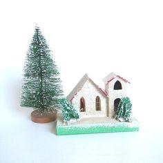 Vintage Putz White Church, Christmas Ornament, Circa 1950, Cardboard, Japan Holiday Decor Collectible (WB4)
