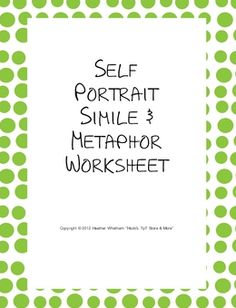 FREE simile and metaphor worksheet - students write examples based on themselves!