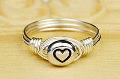 Heart Ring- Sterling Silver, Yellow or Rose Gold Filled Wire Wrapped Ring with Pewter Heart Bead- Any Size 4 5 6 7 8 9 10 11 12 13 14 Wire Wrapped Rings, Wire Rings, Pink And Gold, Rose Gold, Heart Rings, 14 Karat Gold, Or Rose, Sterling Silver Rings, At Least