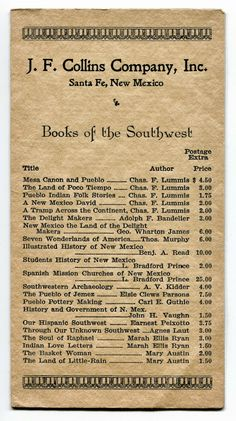 Books of the Southwest: J.F. Collins of Santa Fe