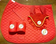 The Flash Logo Embroidered Set Saddle Pad by TheHoundstoothHorse