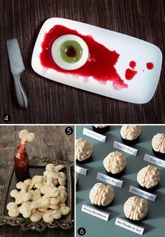 """I would do cream cheese or mozzarella for the eye and use red pepper jelly for the """"blood"""".  Serve with crackers."""