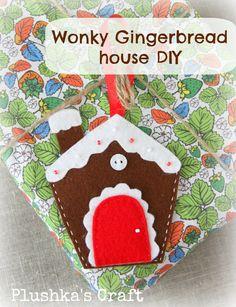 "Plushka's craft: ""Wonky Gingerbread house"" Christmas decoration DIY"