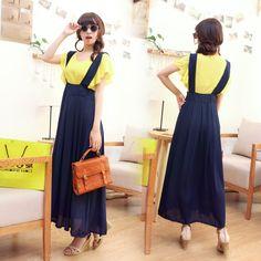 high waist skirt with suspenders
