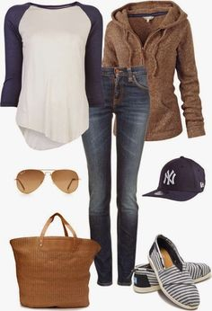Lovely fall outfits with cozy cardigan minus the hat, and different shoes. I don't like the brown hoodie. But the rest is cool