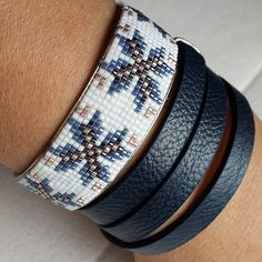white and dark blue combinations bracelet by gunselstyle on Etsy