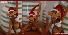 Sådan en ønsker aben sig til jul Christmas Diy, Christmas Ornaments, Amai, Holiday Festival, Diy Crochet, Single Crochet, Projects To Try, Santa, Knitting